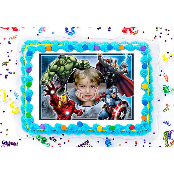 The Avengers Edible Image Photo Frame Cake Topper with Your Image