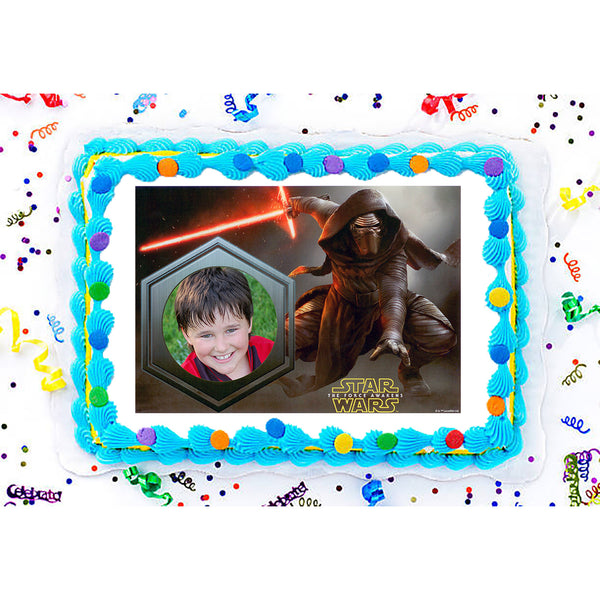 Star Wars: The Force Awakens Kylo Ren Photo Frame Edible Image Cake Topper