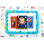 Super Mario Brothers Dynamic Duo Photo Frame Edible Image Cake Topper