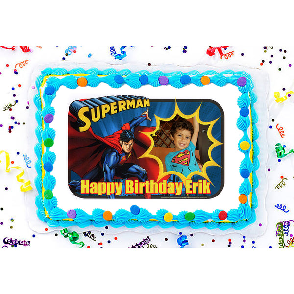 Superman - Saves the Day Photo Frame Edible Image Cake Topper