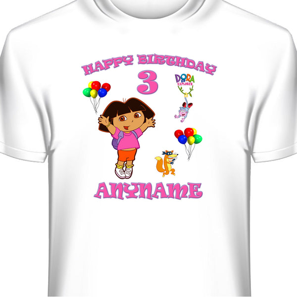 Personalized  Dora The Explorer Birthday T-Shirt