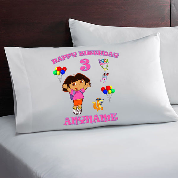 Personalized Dora The Explorer Birthday Pillow Case