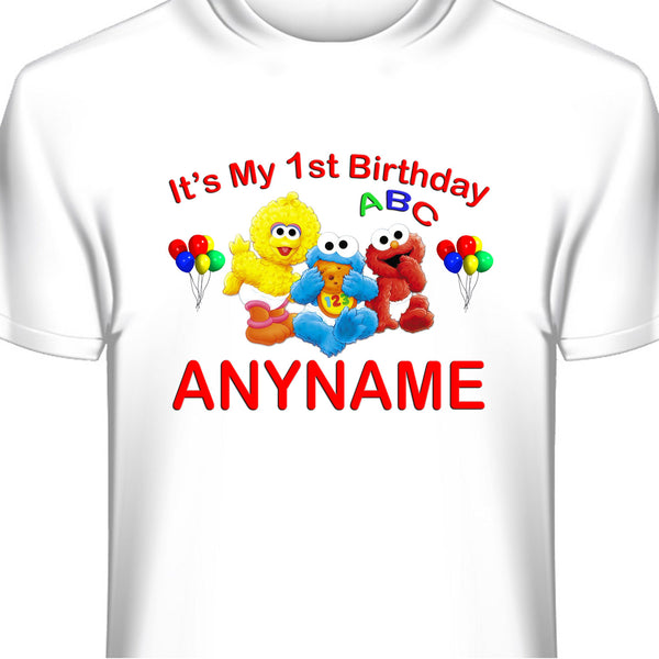Custom Baby Sesame Street Birthday T-Shirt