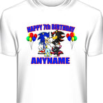 Personalized Sonic The Hedgehog Birthday T-Shirt-Shadow