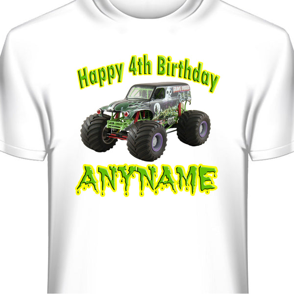 Personalized Grave Digger Monster Jam Birthday T-Shirt