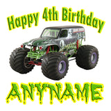Personalized Grave Digger Monster Jam Birthday Pillow Case