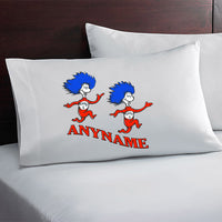 Dr Seuss Thing 1 and 2 Custom Pillow Case