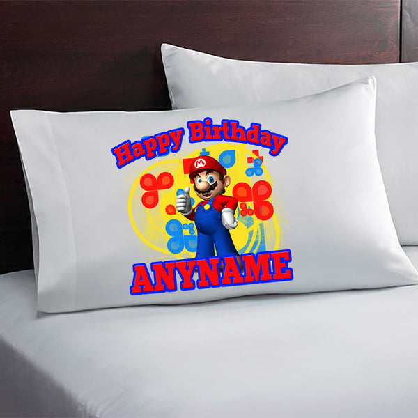 Super Mario Custom Printed Birthday Pillow Case