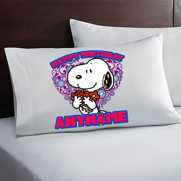 Snoopy Personalized Birthday Pillow Case
