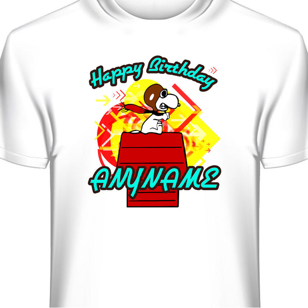 Snoopy Red Baron Personalized Birthday T-Shirt