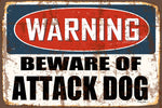Warning- Beware of Attack Dog Decorative Metal Sign