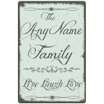 Live Laugh Love Personalized Family Name Plaque - Aluminum Metal