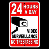 24 Hour Video Surveillance No Trespassing Sign Made In USA Security Alarm