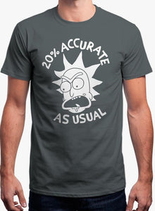 20% Accurate - Rick and Morty Gray T-shirt