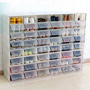 1pcs Transparent plastic shoe box thick clamshell design shoe storage artifact storage organizer household storage tools LAD-sa
