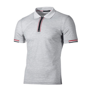 Men Slim Casual Cotton Solid Short Sleeve Polos
