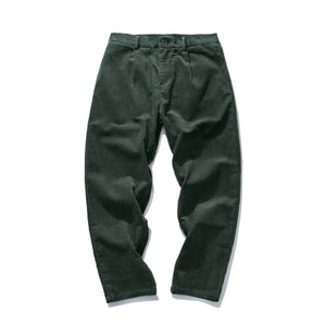 Army Green Men Straight-Fit Pocket Comfort Stretch Corduroy Pants Urban Work Wear