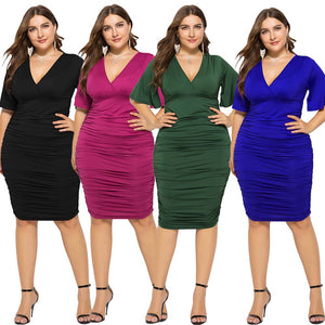 2019 Plus Size Women Evening Party Dress Empire Waist Sexy V Cut Flare Sleeves Elegant Pleated Dress eDressU LMT-FP1130
