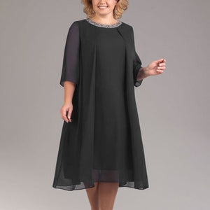 Fashion Women Casual Dress Evening Formal Plus Size Oversize Loose Midi Solid