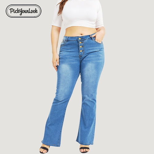 Casual Jeans Women Plus Size 5XL Washed Button High Waist Jeans Loose Flare Pants Boyfriend Jeans Ladies Pants Summer femme D40