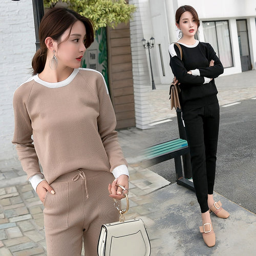 Women  2 piece set knit pants suit Sweater tracksuit Suits and Set Autumn Spring Casual  Pullover Winter sets