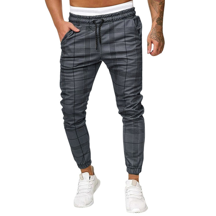 Man Pants Men's Long Casual Sport Pants Slim Fit Plaid Trousers Running Joggers Sweatpants Men's High Quality Brand Men Pants