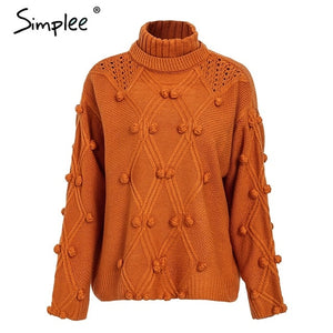 Simplee Turtleneck sweater women pullover Hollow out knitted sweaters 2019 Autumn winter fashion long sleeve casual jumpers