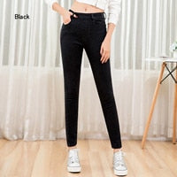 LEIJIJEANS new arrival High waist casual long jeans fashion side zip high street comfortable ladies plus size women jeans 9198