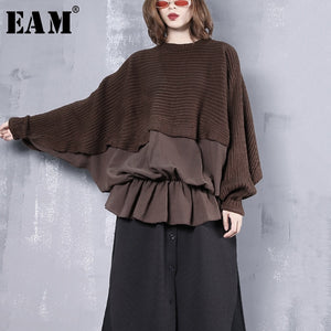 [EAM] Pleated Stitch Big Size Knitting Sweater Loose Fit Round Neck Long Sleeve Women New Fashion Tide Autumn Winter 2019 1B310