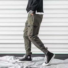 Cargo Pants Men Solid Color Black Loose Casual Jogger Pocket Elastic waist Ankle Length Trousers Techwear