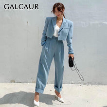 GALCAUR Korean Two Piece Set For Women Notched Long Sleeve Pocket Blazer High Waist Pants Female Suits Autumn Fashion New 2019