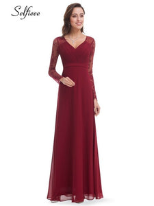 Plus Size Elegant Dresses A-Line V-Neck Lace Full Sleeve Party Gowns Women Evening Formal Sexy Vintage Summer Dresses 2019