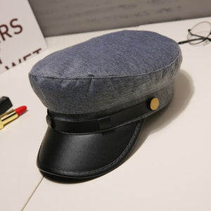 Fashion PU Leather Military Hat Autumn Winter Wool Sailor Hat For Women Men Black  flat top  Female travel cadet hat Captain Cap