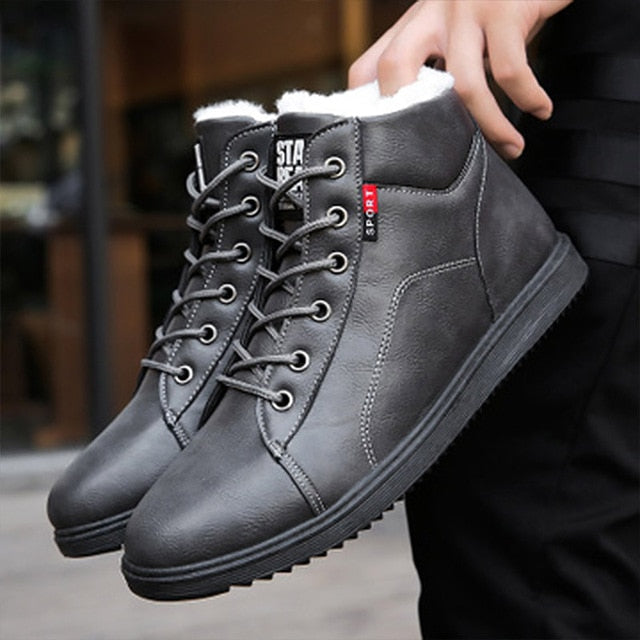 Warm Snow Boots Winter Cotton Men Casual Shoes Leather Man Ankle Boots Fashion Black Shoes Winter Men Boots Warm Shoes With Fur