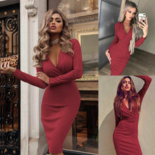 Elegant Fashion Women Sexy Deep V Neck Bodycon Dress Evening Party Formal Long Sleeve Midi Dresses Hot Plus Size S-XXL