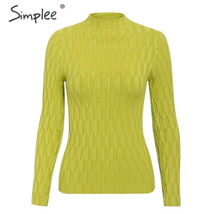 Simplee winter knitted women pullover sweater Long sleeve top turtleneck female sweater Chic ladies casual bestmatch jumper 2019
