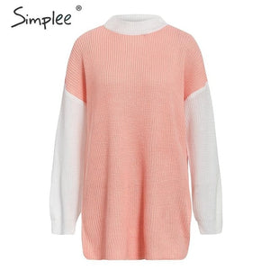 Simplee Turtleneck patchwork sweaters Women lantern sleeve color block pullover khaki pink sweater Autumn winter long sweater