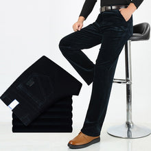 Autumn Winter Warm Men Stretch Corduroy Pants Loose Straight Slacks Long Business Casual Pants High Thicken Corduroy Trousers