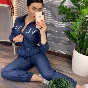 Womens Casual Jumpsuit Blue Long Pants 2019 Fashion Loose Letter Print Playsuit Plus Size Women Clothing Working Zipper Rompers