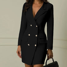 9 Color Sexy Black Formal Dress Office Lady Women Double Breasted Blazer Plus Size Slim Bodycon Work Wear Dress Droppship платье