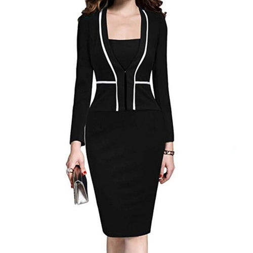 Women Dress Suit Jacket Bodycon Ladies Office Dresses Formal Business Work Wear Elegant Midi Pencil Dress Classic Vintage Clothes Vestidos Female Large Plus Size WF8