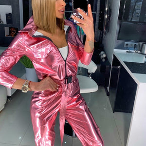 Streetwear PU Leather Pink Silver Glitter Long Sleeve Bodycon Jumpsuit Sexy Women Autumn Winter Belt Romper Night Club Overall