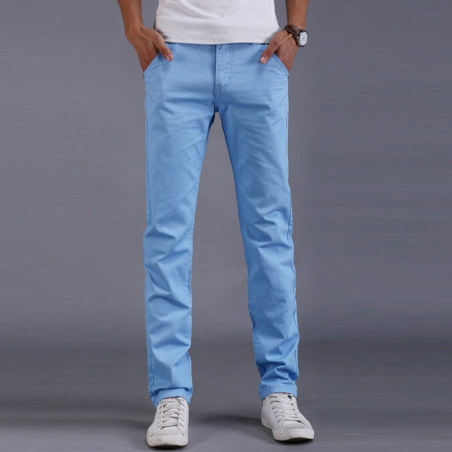 Fashion Men Business Casual Pants Slim Straight Trousers Solid Color Man Long Pants Spring Autumn VK-ING