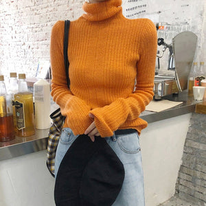Turtleneck Sweater Women Autumn Winter Long Sleeve Leisure Sweater 2019 Solid Casual Pullover Fashion Knitted Sweater Tunic