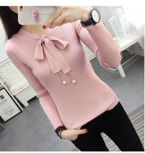 2019 Autumn Ladies Spring New Long Sleeved Sweater Pullover Women Female Sweater Lace up Beading Butterfly Collar Basic Jumper