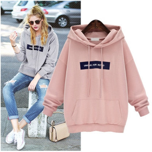 LASPERAL Plus Size Hoodies Sweatshirt Women Fashion Letter Printed Pullover Hoodies Female Autumn Winter Tracksuit Hoody Pink