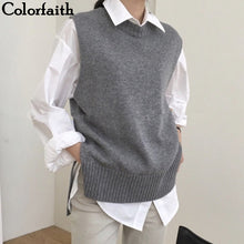 Colorfaith 2019 New Autumn Winter Women Sweaters Sleeveless Split O-Neck Vest Warm Minimalist Knitting Elegant Tops SWV9221