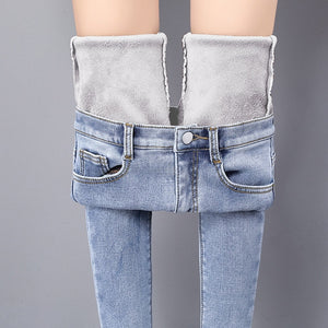 Winter Warm Jeans Woman 2019 High Waist Casual Velvet Ladies Trousers Female Pantalon Denim jeans for Women Pants Plus size