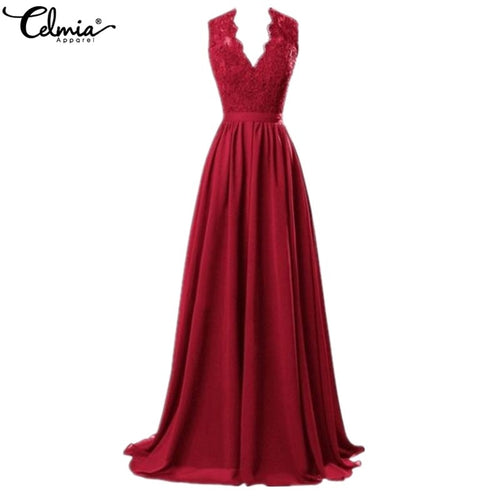 Plus Size Elegant Dress Women Sexy Deep V Neck Sleeveless Red Lace Formal Dress Celmia 2019 Summer Maxi Long Party Vestidos Robe