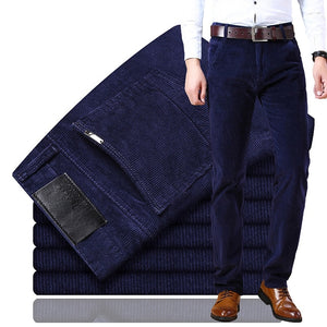new Corduroy men's casual pants 2019 classic middle-aged business straight stretch casual streetwear brand wine red casual pants